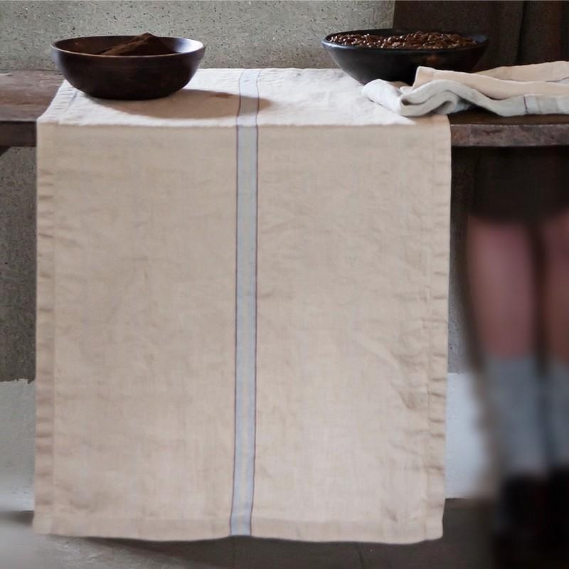 Chemin de table pur lin rayures effet chevron libeco - Chemin de table chevron ...