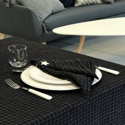 Nappe lin carreau noir Black Check